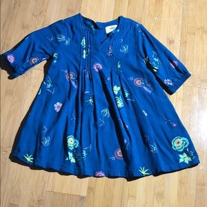 Old Navy floral raglan pintuck dress teal 18-24M